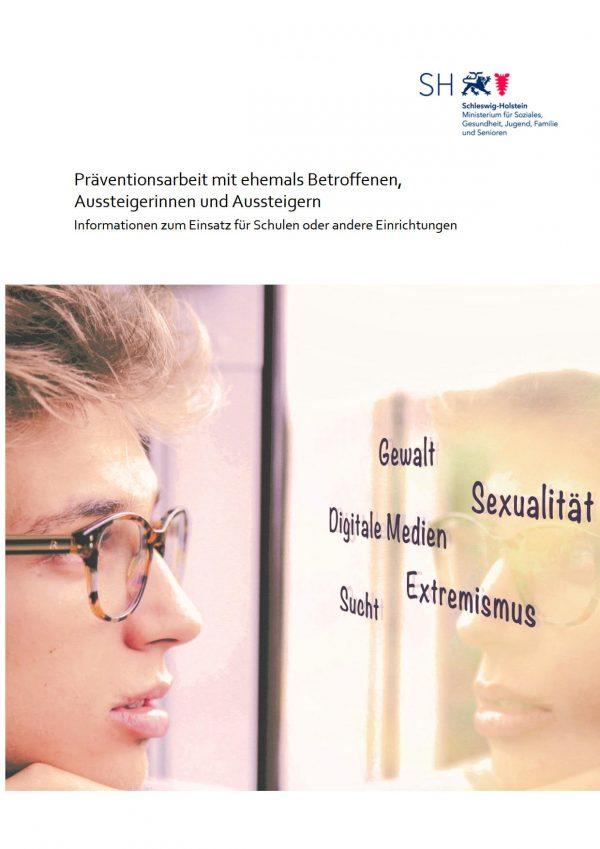 Titel Broschüre Präventionsarbeit mit ehemals betroffenen, Aussteigerinnen und Aussteigern